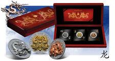 RARE Rwanda 2012 3 Huge 500 Francs Year of the Dragon Prestige Set