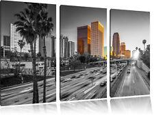 Straßenverkehr in Los Angeles  3-Teiler Leinwandbild Wanddeko Kunstdruck