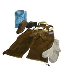 Trachten-Set Gr. 46 4-teilig Kniebundhose nuss Hemd türkis Haferlschuhe & Socken