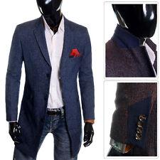 Men's Winter coat 3/4 Long Jacket Wool Cashmere Formal Evening Slim Overcoat