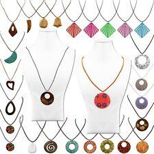 Holzschmuck Holzkette Halskette Damen Kugel Vintage Boho Naturschmuck Geflochten