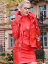 Lederjacke Leder Jacke Rot Biker-Style Größe 32 - 58 XS - XXXL