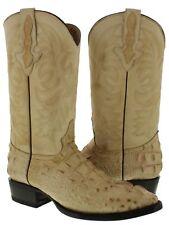 Mens Beige Casual Crocodile Head Cut Leather Rodeo Western Cowboy Boots