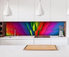 Aufkleber Küchenrückwand 3D Effekt bunt Geo Kristalle Folie Spritzschutz 22A175