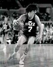 Pistol Pete Maravich - Utah Jazz, 8x10 B&W Action Photo