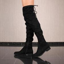 Flache Damen Overknee Stiefel aus Velours Schwarz  #F107