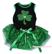 St Patrick Clover Black Top Green Sequins Blling Gauze Skirt Pet Dog Puppy Dress