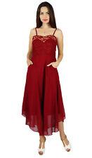 Bimba Womens Maroon Georgette Dress Sheer Shaghetti Strap Prom Dress With Pocket