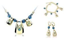 Charm Fashion Blue Gold Style Jewelry Kit Necklace Bracelace Bangle Stud Earring
