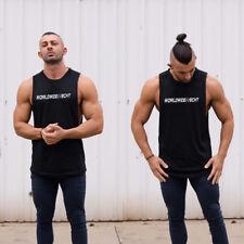 Men ECHT Stringer Deep Cut Gym Bodybuilding Muscle Training Cotton Tank Top Vest