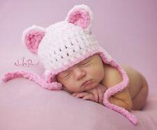 Hand Crochet Knitted Baby Hat Teddy Bear Chunky Photo Prop Girl  Newborn-12M