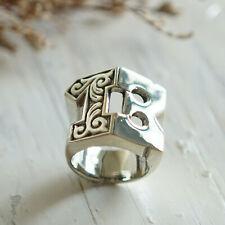 13 Thirteen Western ring men sterling silver Biker number monogram cowboy skull