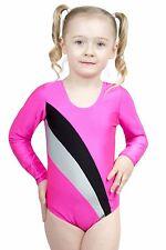 """Kinder Gymnastikanzug """"Claudia"""" pink-schwarz-silber leotard Trikot stretch shiny"""