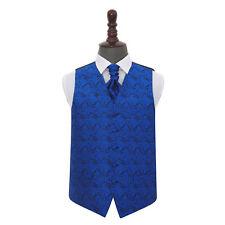 DQT Floral Paisley Royal Blau Herren Hochzeit Weste & Krawatte Set