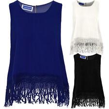 Womens Floral Lace Crochet Tassel Fringe Bottom Semi Sheer Baggy Oversized Top