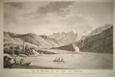 1750-SVIZZERA-LAGO BRIENZ-VEDUTA ORIGINALE ALL'AQUAFORTE-VUE DU VILLAGE ET LAC