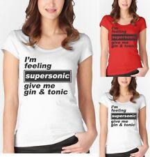 Je me sens Supersonic me donner Gin & Tonic T Shirt Gallagher Oasis Femme