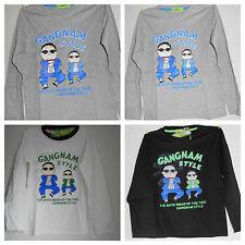 Shirt T-Shirt Pullover  Langarmshirt Hemd T-Shirt Gangnam Style Silber /Grau