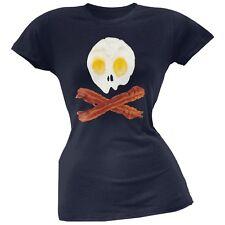 Eggs And Bacon Skull And Cross Bones Navy Soft Juniors T-Shirt Top