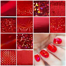 3D RED HOLOGRAPHIC Nail Art Foil Sticker Manicure Foils Shiny Trendy Modern UK