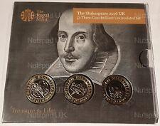The Shakespeare 2016 UK £2 Three Coin BU Set