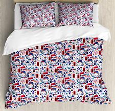 London Duvet Cover Set with Pillow Shams Travel Theme Symbols Print