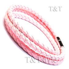 T&T Pink Leather Bracelet Wristband (LB230)
