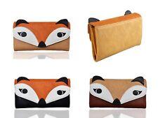 Nouveau Femme & Filles Fox forme petit Trifold Wallet Purse Card Coin Porte-photos
