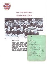 Hearts Of Midlothian 1938-1939 extremadamente rara con firma a mano Autógrafo página por 9