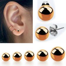 Ear Plugs 3-8mm Ball Earrings Stud Jewelry Pair Rose Gold Pvd Steel Post Pierced