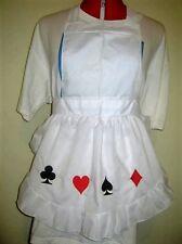 LADIES ALICE IN WONDERLAND FANCY DRESS COSTUME APRON & HEART/CLUB/DIAMOND/SPADE