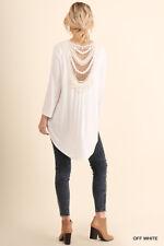 S M L UMGEE OFF WHITE Crochet Back Surplice/Faux Wrap Tie Top/Shirt/Blouse  BHCS