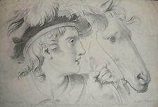 1799-Metz-JULIUS TIDDA-RARA INCISIONE-RITRATTO UOMO CAVALLO.FIGURA-MICHELANGELO