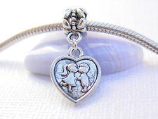 Silver Tone Kissing Boy Girl Lovers Heart Slider Dangle Charm fits Euro Bracelet