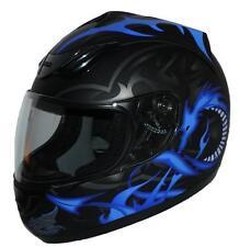 Motorradhelm Integralhelm schwarz mit blauem Drachen H510-11-BL Größe XS-XL NEU