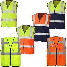 Mens Workwear Hi Viz Safety Vest Waistcoat Pocket Jacket Reflective Tape Work