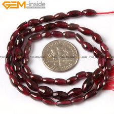 "Natural Stone Genuine Garnet Gemstone Beads For Jewelry Making 15"" Black Red"