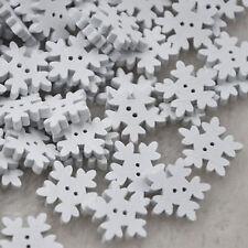 Fiocchi di Neve in Legno Bianco da cucire bottoni Scrapbooking Card Making Arts & Craft