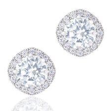 Orrous 18k White Gold Plated Cubic Zirconia Cushion Shape Halo Stud Earrings