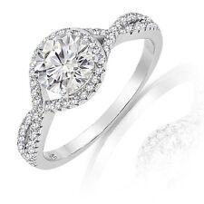 Brillante Diamante Sintético Halo Plata de Ley Infinity Anillo de Compromiso