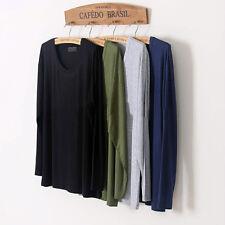 Men's Casual Basic Loose Long Sleeve T-Shirt Bamboo Fiber Relaxed Crew Neck Tops