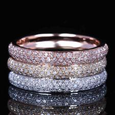 10K Rose/Yellow/White Gold Pave Natural Diamonds Anniversary Fine Ring Band