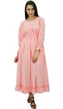 Bimba Women Baby Pink Cotton Waist Long Maxi Dress Boho Chic Summer Dresss