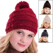 Girls RJM winter beanie hat with faux flower detail pink blue GL096 purple
