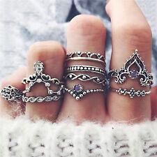 10 x bohemio Vintage anillo conjunto encanto hueco geométrica FatFWS
