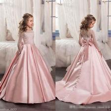 Flower Girls Princess Dress Kids Pageant Party Dance Wedding Birthday Ball Gown+