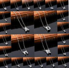 NUOVA lega strass cristallo Iniziale Alfabeto Lettera A-Z Collana Catena Ciondolo