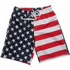 Men's USA American Flag Stars Stripes Red White Blue Swim Trunk Board Shorts