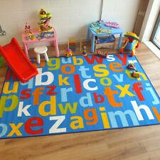Superb Kids Childs Rug Blue Multi Coloured Large Alphabet Educational 2 Sizes