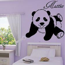 Stickers Muraux Bébé Panda Allongé+Prénom Personnalisable - Choix Taille/Couleur